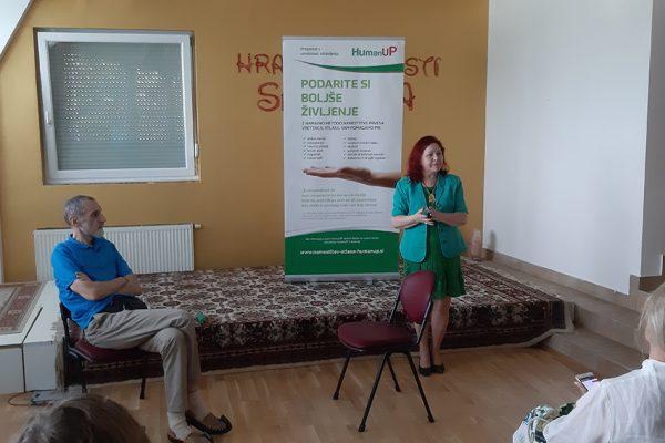 Atlasologa Predrag Đorđević in Marija Bizjak na predstavitvi HumanUP metode
